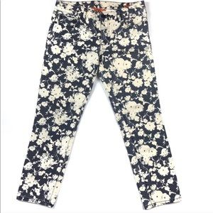 Tory Burch Floral Crop Skinny Jean, Size 24